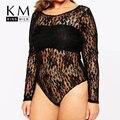 Kissmilk 2017 Women Plus Size Long Sleeve Backless 3XL 4XL 5XL 6XL Sexy Sheer Hollow Out Romper Big Large Size Slim Jumpsuit