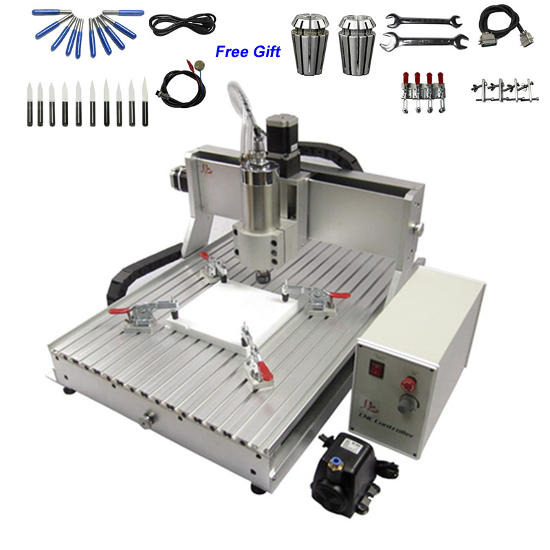 2200W Metal Carving Machine Desktop CNC Router 6040 USB 2.2KW VFD Water Cooled Spindle CNC Milling Machine