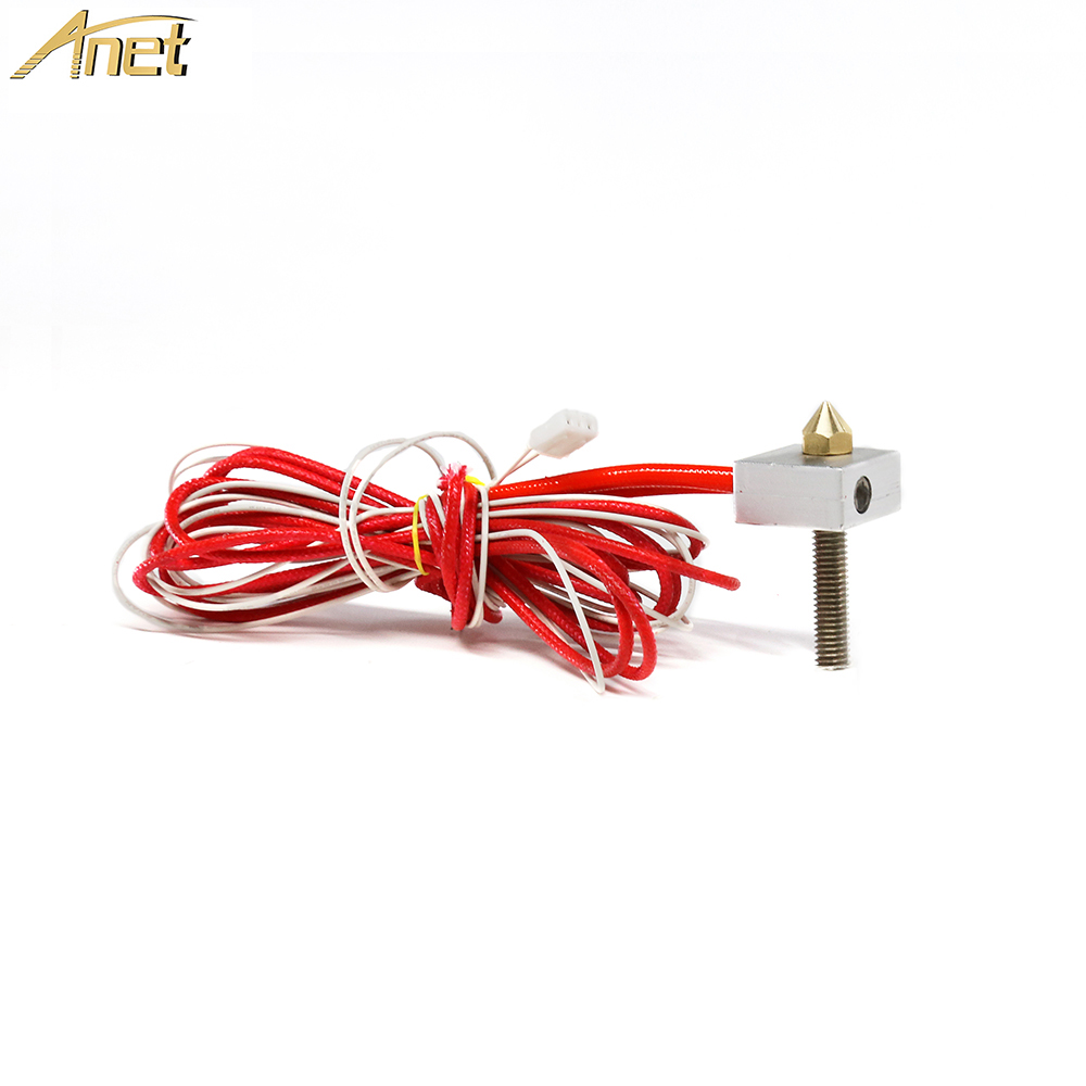 1Set Anet Extrusion Head DIY Hot End Telfon Tube 0.4mm Nozzle Thermistor Heating Block,Heating Pipe For A8 A6 3d Printer Part
