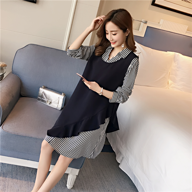 Stripes Maternity Clothes Two Pieces Pregnancy Dress Cotton Loose Maternity Clothing Of Pregnant Women 2018 Spring