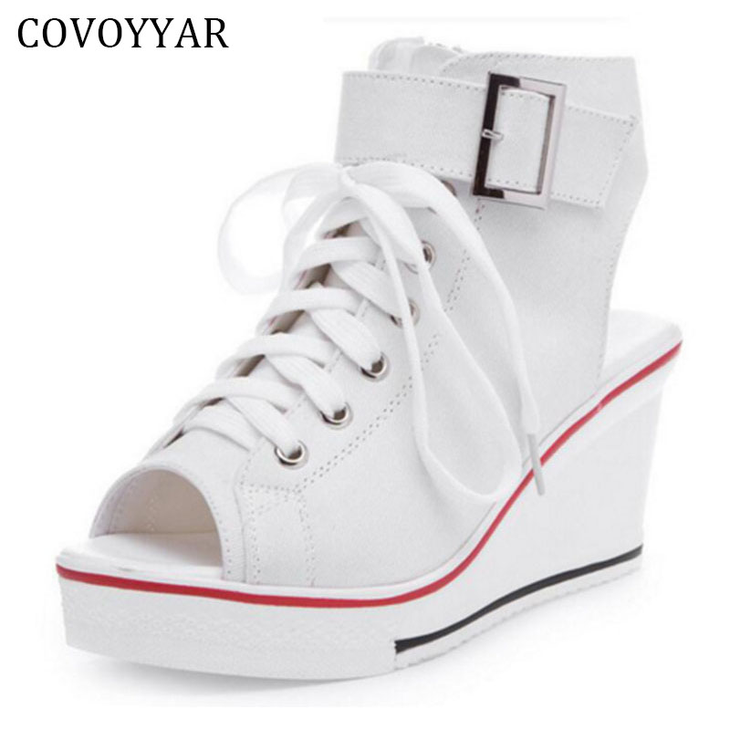 COVOYYAR 2018 Peep Toe Wedge Women Sandals Lace Up Women Canvas Shoes Spring Summer High Heeled Shoes  Size 35-42 WSN124 pink palms women summer genuine leather lace up shoes super high heel wedge black peep toe runway party sandals