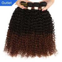 Joedir-extensiones de cabello rizado malayo precoloreado, 4 mechones 1b 4 30, cabello humano Marrón degradado, Pelo Rizado Afro no remy
