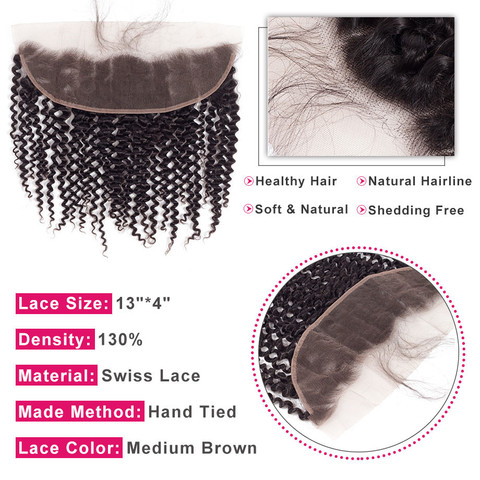 """Bling Hair Brazilian Kinky Curly Hair 13*4 Lace Frontal Closure With Baby Hair 100% Remy Human Hair Closure Natural Color 8""""-22"""" Karachi"""