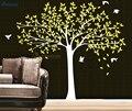 Большая семья дерево наклейка на стену питомник дерево и Птицы стикер на стену виниловый водонепроницаемый DIY украшение на заказ росписи T-06