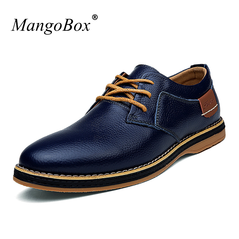 2018 Men Sneakers Casual Comfortable Flat Shoes Mens Blue Black Sneakers Mans Cow Leather Genuine Men Shoes