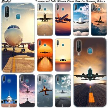 Airplane Departure Silicone Phone Case For Samsung Galaxy A80 A70 A60 A50 A40 A40S A30 A20E A2CORE M40 Note 10 Plus 9 8 5 Cover image