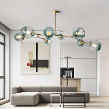 Large Pendant Lights Bar Gold Lighting Kitchen Modern Light Gradual Blue Glass Lamp Ceiling Free Bulbs