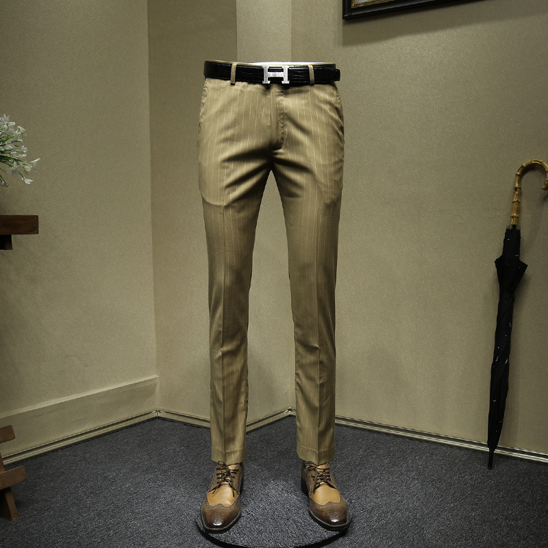 Men Long Formal Pants Young Man Khaki Striped Gray Suit Pants Office Trousers Mens Dress Pants Slim Dress Pant For Men Plus Size