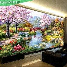 QIANZEHUI ، الإبرة ، لتقوم بها بنفسك المناظر الطبيعية عبر الابره ، كابينة حديقة اللوحة الزيتية الأوروبية ، مجموعات ل طقم تطريز ، جدار ديكور المنزل