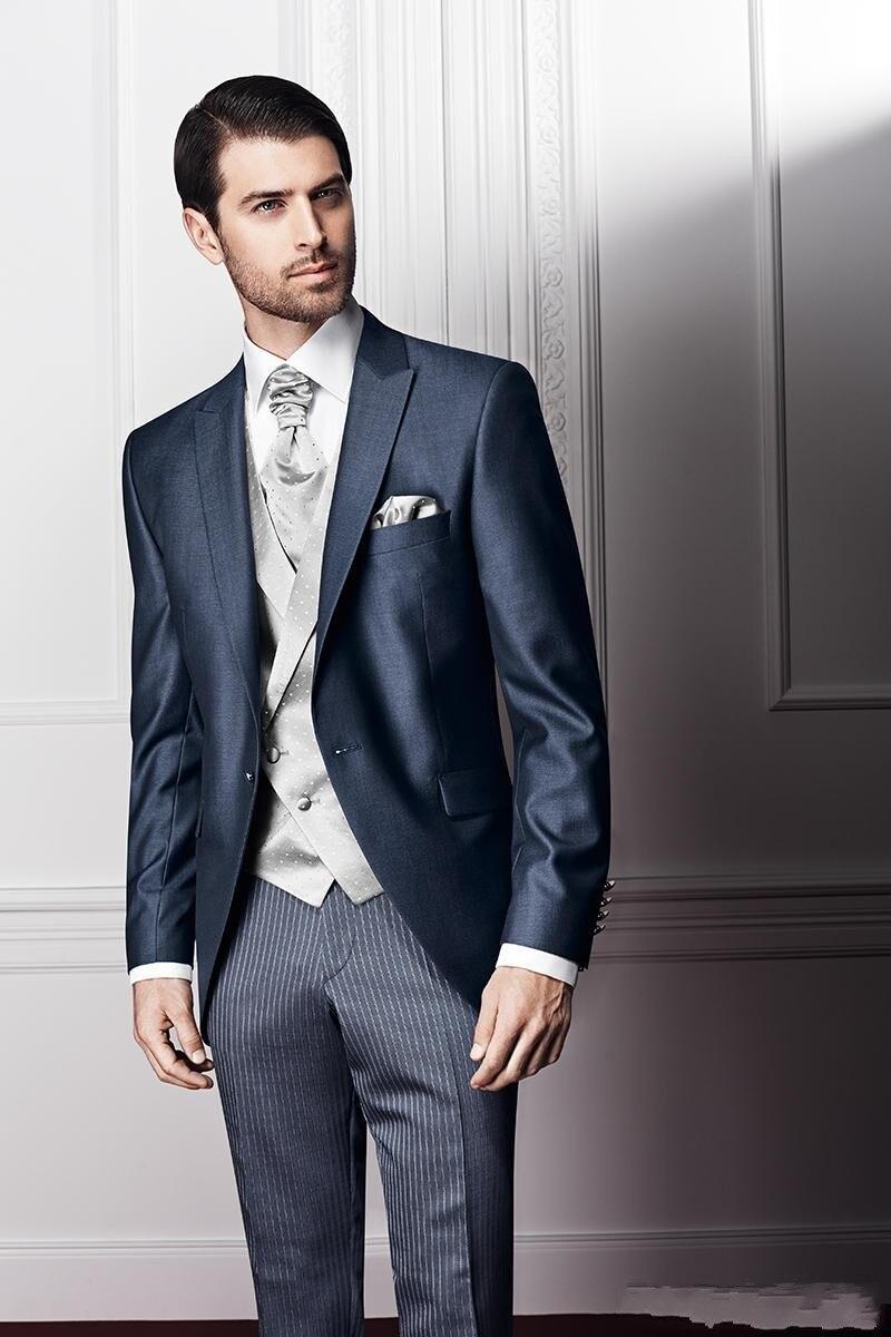 Custom Made novio esmoquin un botón solapa de los padrinos de boda cena  Trajes mejor novio del hombre (chaqueta + Pantalones + tie + Vest) b382 be78d00d6e7