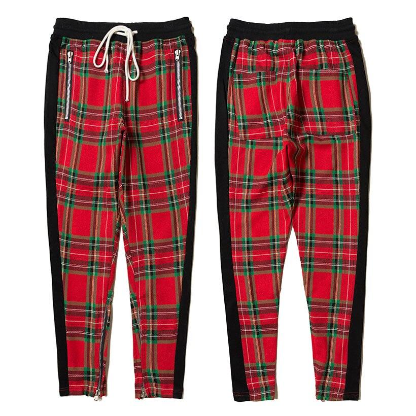 La peur de Dieu Pantalon Hommes Streetwear Rouge Plaid sarouel Hommes Joggers Mode qualité supérieure 100% Coton La Peur de Dieu pantalons de Survêtement