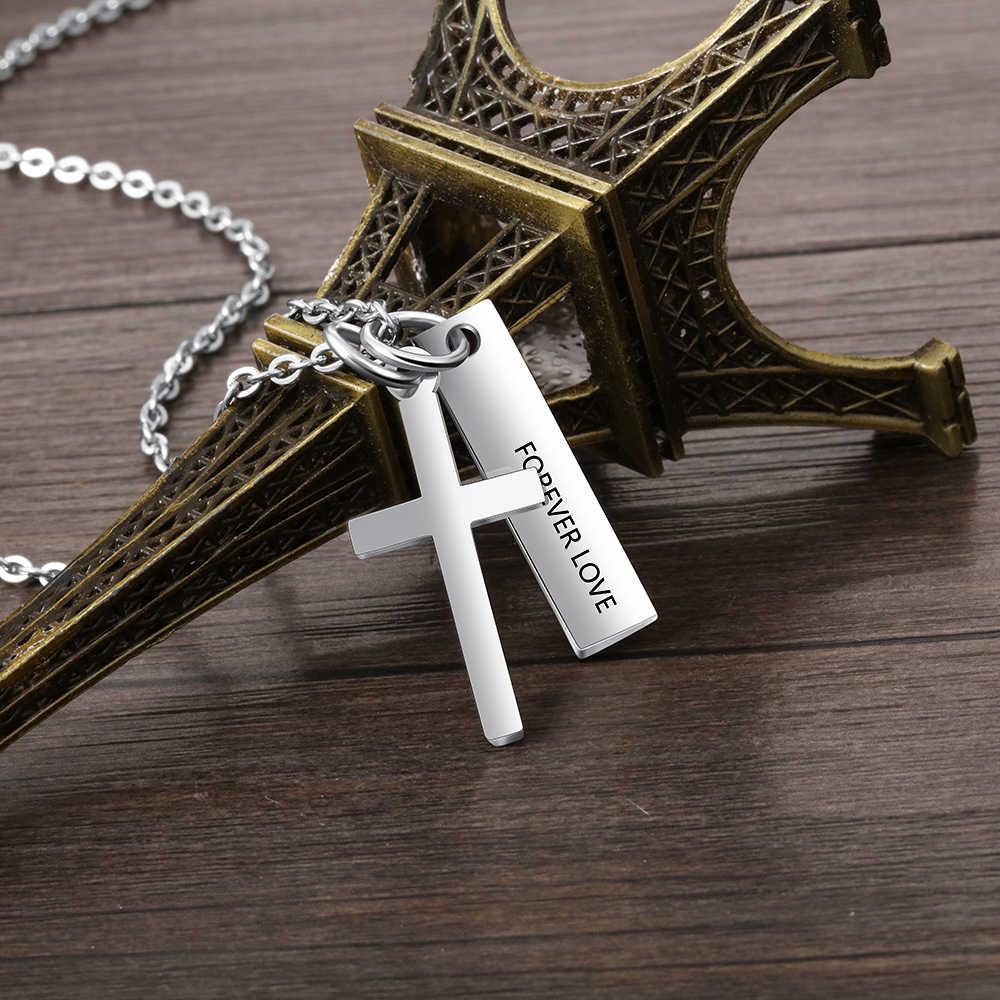 Dostosowane naszyjnik pionowy pasek kwadratowy krzyż wisiorek grawerowane data lub nazwa moda biżuteria ze stali nierdzewnej dla przyjaciela (NE103191)