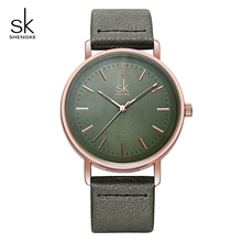 Shengke Top Brand Luxury Ladies Quartz Watch Clock Leather Strap Reloj Mujer 2019 Fashion Women Wrist Watches Relogio Feminino
