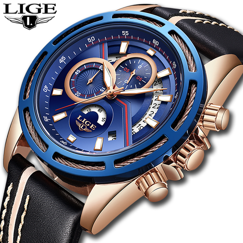 все цены на Relojes Hombre 2018 LIGE Mens Watches Top Brand Luxury Quartz Gold Watch Men Casual Leather Military Waterproof Sport Wristwatch