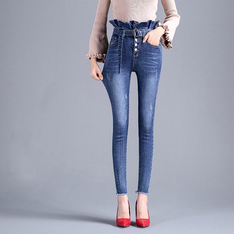 Cintura Pantalones Blue Femeninos Blanqueado Para Borla Up 2018 Alta Blue Skinny Señoras Push Jeans Invierno Mamá Mujer dark Vaqueros Delgado Light Mujeres tIFqnw1Y