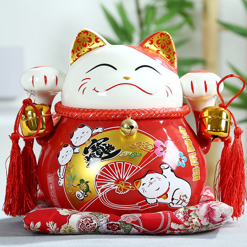 Grand Chanceux chats figurines Fengshui Céramique Maneki Neko Ornement Tirelire Fortune Chat Figurine Chinois Statue Banque avec Cloches