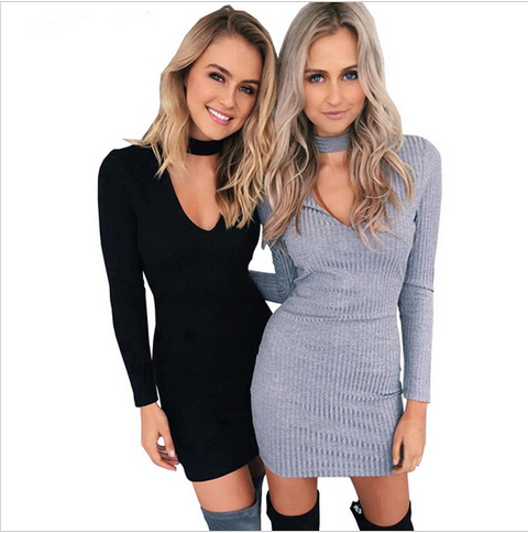 a53c71adf270 Winter Autumn Dress Women V-neck Long Sleeve Sexy Party Black Knitted Dress  Casual Bodycon Dress Vestidos Short Sweater Dresses