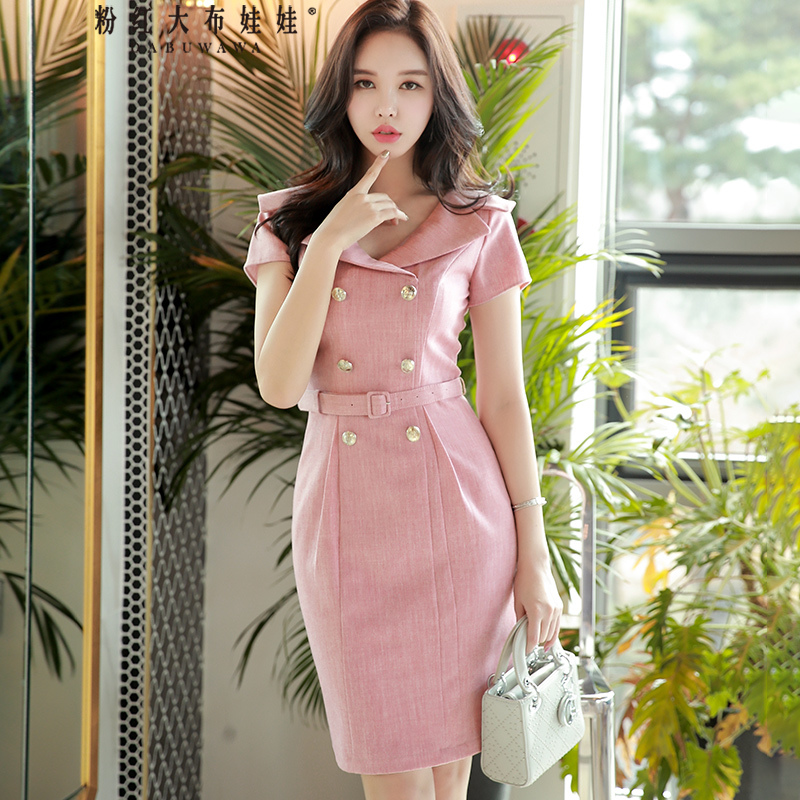 Dabuwawa New Women Ladies Summer V Neck Double Breasted Bodycon Dress Pink Elegant Korean Party Mdi