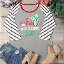 78df849b04eba 2 Colors Women T-Shirt Plus Size 2017 Merry Christmas Car Letter Striped 3