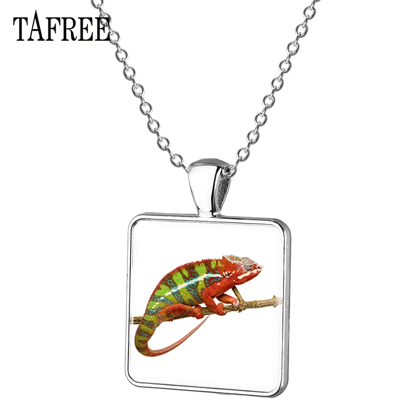 TAFREE Glass Photo Lizard Square Necklace Animal Iguana Reptile With Short Legs Long Tail Choker Necklace Metal Jewelry QF738 image