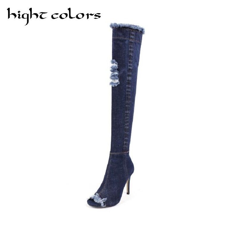 2017 Summer Dark Blue Stretch Denim Over The Knee Thigh High Boots For Women High Heels Women Shoes Tassel Open Toe Jeans Boot tqqt man jeans heavyweight plus size jeans plaid low waist stretch jeans zipper fly dark wash straight fit boot cut jean 5p0603