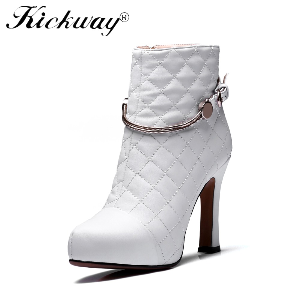 Kickway 2018New Femmes de Bottes Bout Rond En Cuir Véritable Cheville Bottes Talon Épais Haute Talons Chaussures Femme Femme Chaussures Pour dames