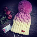 Buenos Ninos autumn winter knitting hats for women mixed color patchwork knit ball decoration female fashion casual knitted Caps