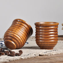 New Wooden Cup Log Souvenir Handmade Color Handmade Natural With Handle Two Hole Cowhide Rope Hook Mug(China)