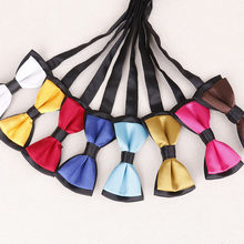 Neckwear Boy's Baby Fashion Solid Color Adjustable BowTie Two Tone Pet Dog Cat Bow Tie Blue Red So cleverness(China)