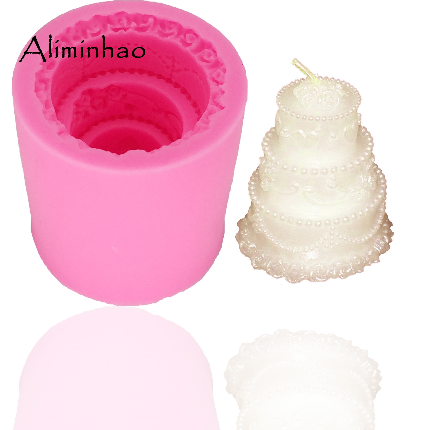 B0316 3-layer <font><b>cake</b></font> shape candle mould DIY chocolate Sugar Craft Silicone mould <font><b>fondant</b></font> <font><b>cake</b></font> <font><b>decorating</b></font> <font><b>tools</b></font> <font><b>accessory</b></font> kitche image