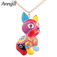 Фотография ANNGILL High Quality Alloy Enamel Statement Necklace Jewelry Lovely Animal Dog Necklaces & Pendants Long Chain Bijoux Femme Gift