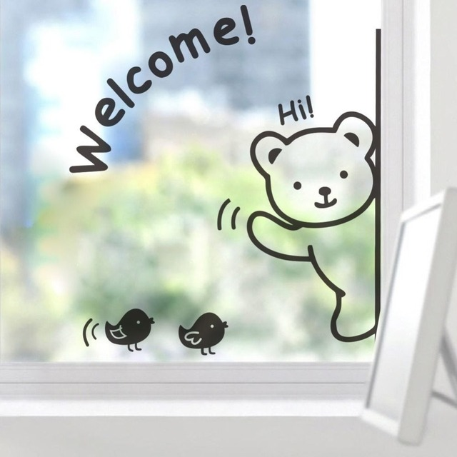 CUTE Cartoon bear Welcome Wall Sticker Glass Door Wall Decal Funny ...