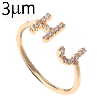 Duoying Double 7 mm Letter Ring Full Zirconia Micro Pave Rings for Women Simple Luxury Ring for Women Bling Jewelry Open Ring sweet rhinestoned letter s pattern design triangle ring for women