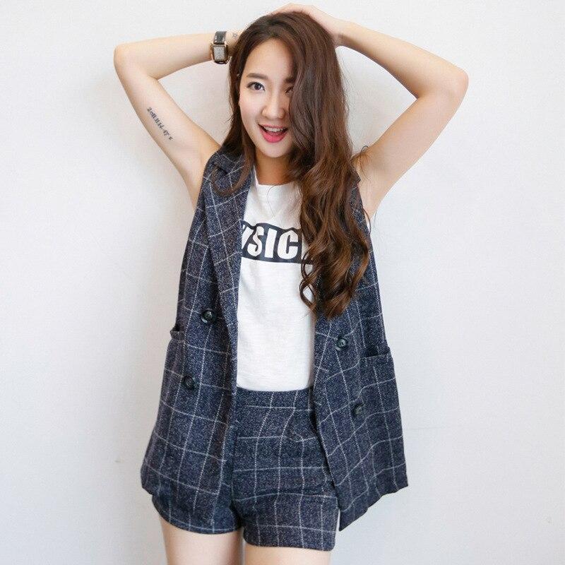 Set female 2018 summer new fashion temperament cotton and linen lattice lapel suit vest + shorts elegant casual two-piece