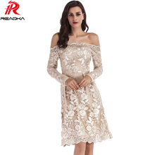 Elegant Embroidery Gold Line Sequins Women Dress Long Sleeves 2018 Spring Autumn Sexy Slash Neck Lace Mesh Fashion Party Dresses