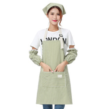 3pcs/set Apron Gloves Cap Lady Women Men Adjustable Cotton Linen High-grade Kitchen For Cooking Baking Restaurant Pinafore