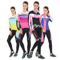 Ms professional team riding long sleeved suit MTB mountain road ice breathable quick drying bike clothes pants Pink cheap