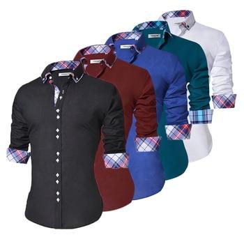 2018 Men's Casual Shirt Slim Fit Men's Casual Button Down Shirt Long Sleeve Formal Dress Shirts Men Male Clothing Camisa 1