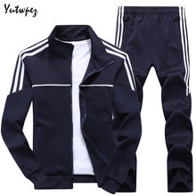 New Striped Sweatsuit Men Tracksuit Spring Autumn Men's Set Man Sportswear 2 Piece Sets Sports Suit Jacket+Pant Asia Size L-4XL(China)