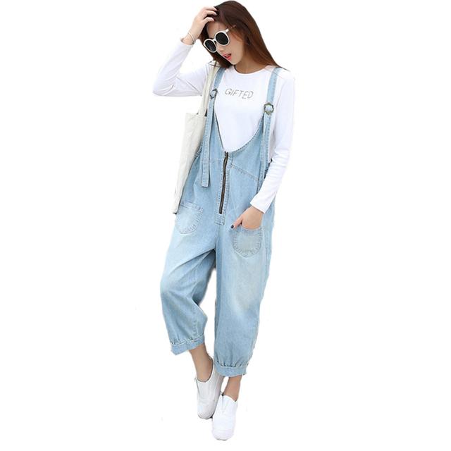 Retro Mulheres Capris Solto Tamanho Grande Bolso da Calça Jeans Blue Jeans Casual Macacão Moda Macacão Feminino