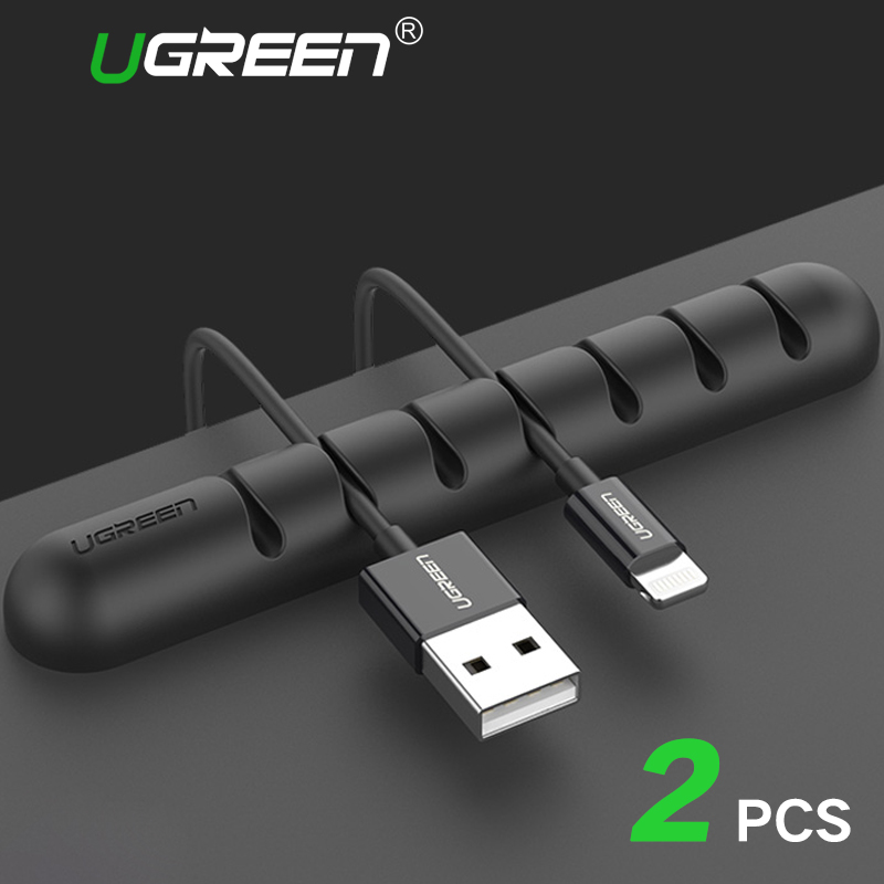 Ugreen Cable Organizer Silicone USB Cable Winder Flexible Cable Management Clips Cable Holder For Mouse Headphone Earphone ugreen cable holder organizer 25mm diameter flexible spiral tube cable organizer wire management cord protector cable winder