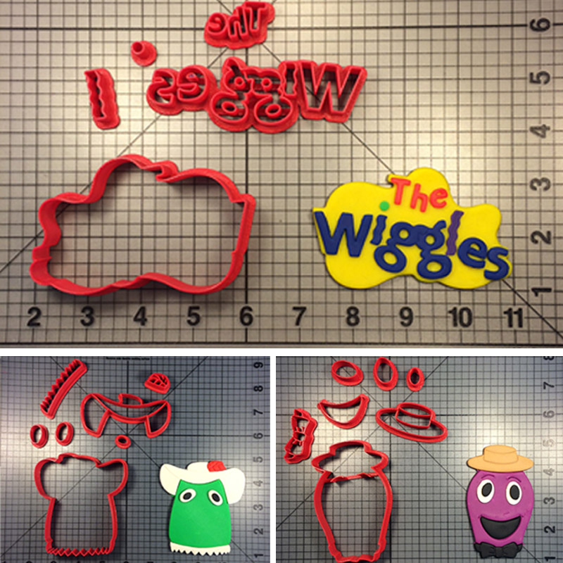 Cartoon Film Character Wiggles Series Cookie Cutter Set Made 3D Printed Fondant Cupcake Top Mould Baking cortadores de fondant