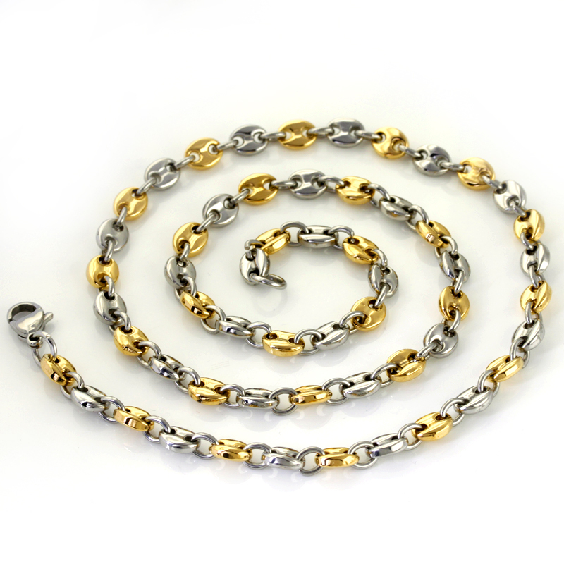 Wholesale Retail! 55cm*6mm 32.5g Stainless Steel Silver Gold color Link Chains Neklace Men/ Boy, Lowest Price Best Quality