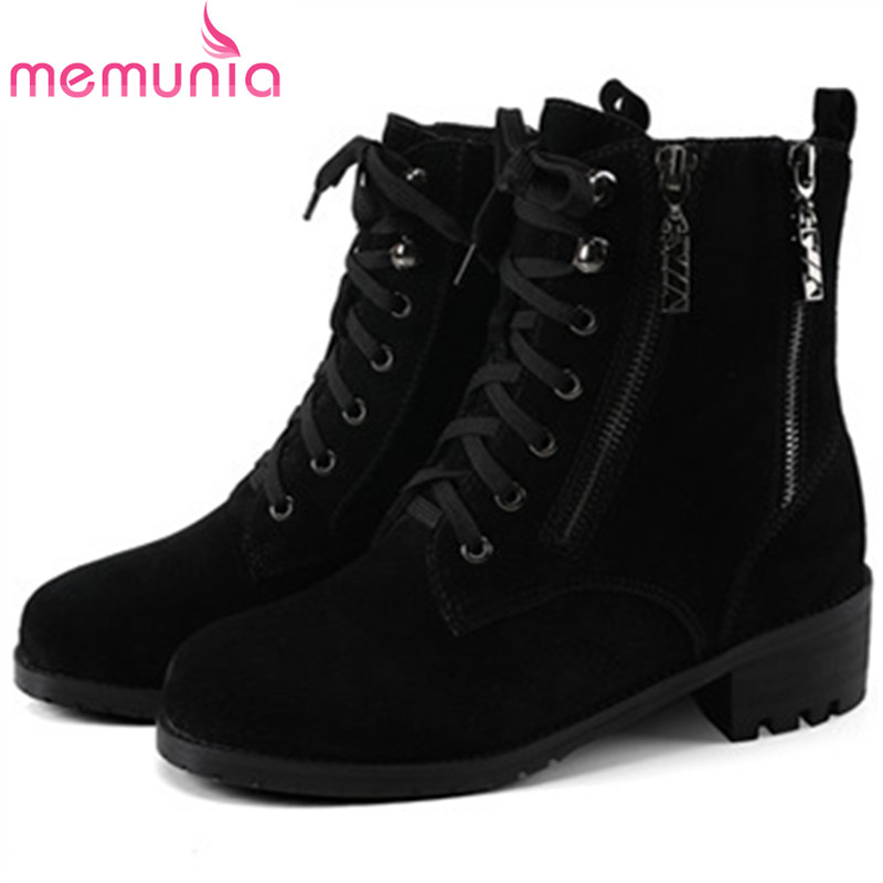 MEMUNIA 2018 Hot sale womens boots top quality cow suede ankle boots for women med heels shoes fashion boots big size 34-44 memunia top quality over the knee boots fashion elegant womens boots female zip flock solid med heels shoes woman big size 34 44