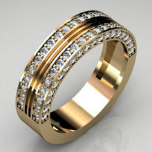 Yellow Gold Color Engagement Rings for Women Fashion AAA+ Cubic Zirconia Wedding Bands Rings 2019 New Arrivals Jewelry