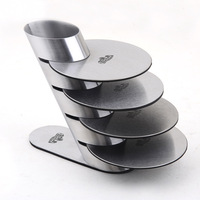 4pcs/set creative home supplies 304 Stainless steel coasters metal cup mats pads with holder J3010