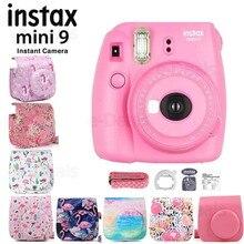 Fujifilm Instax Mini 9 do aparatów fotograficznych Flamingo różowy + jakości miękkie PU skórzane etui z paskiem na ramię