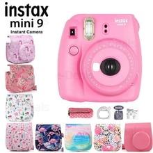 Fujifilm instax mini 9 capa para câmera, filme instantâneo, flamingo rosa + qualidade, macio, couro pu, com alça de ombro