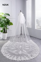 NZUK 2018 Popular New Style White Or Ivory 2 Layer 3 Meters Lace Edge Cathedral Length