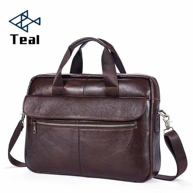 2019 Man Briefcase Genuine Leather Bag Men Business Briefcase Messenger Bags Male Vintage Men's Shoulder Bag Large Capacity Bags